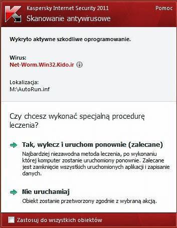 kaspersky znalazl wirusa