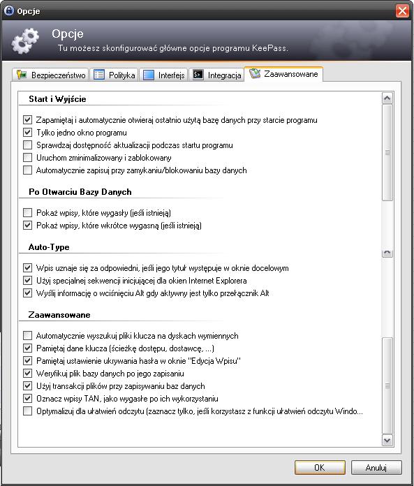 Opcje w keepass - zakładka zaawansowane