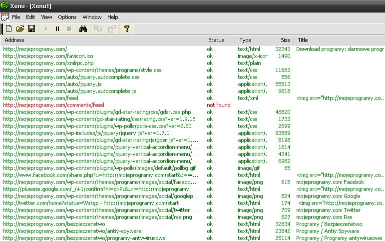xenu - opcje programu