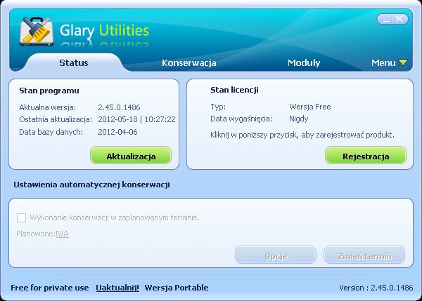 Glary Utilities - status programu
