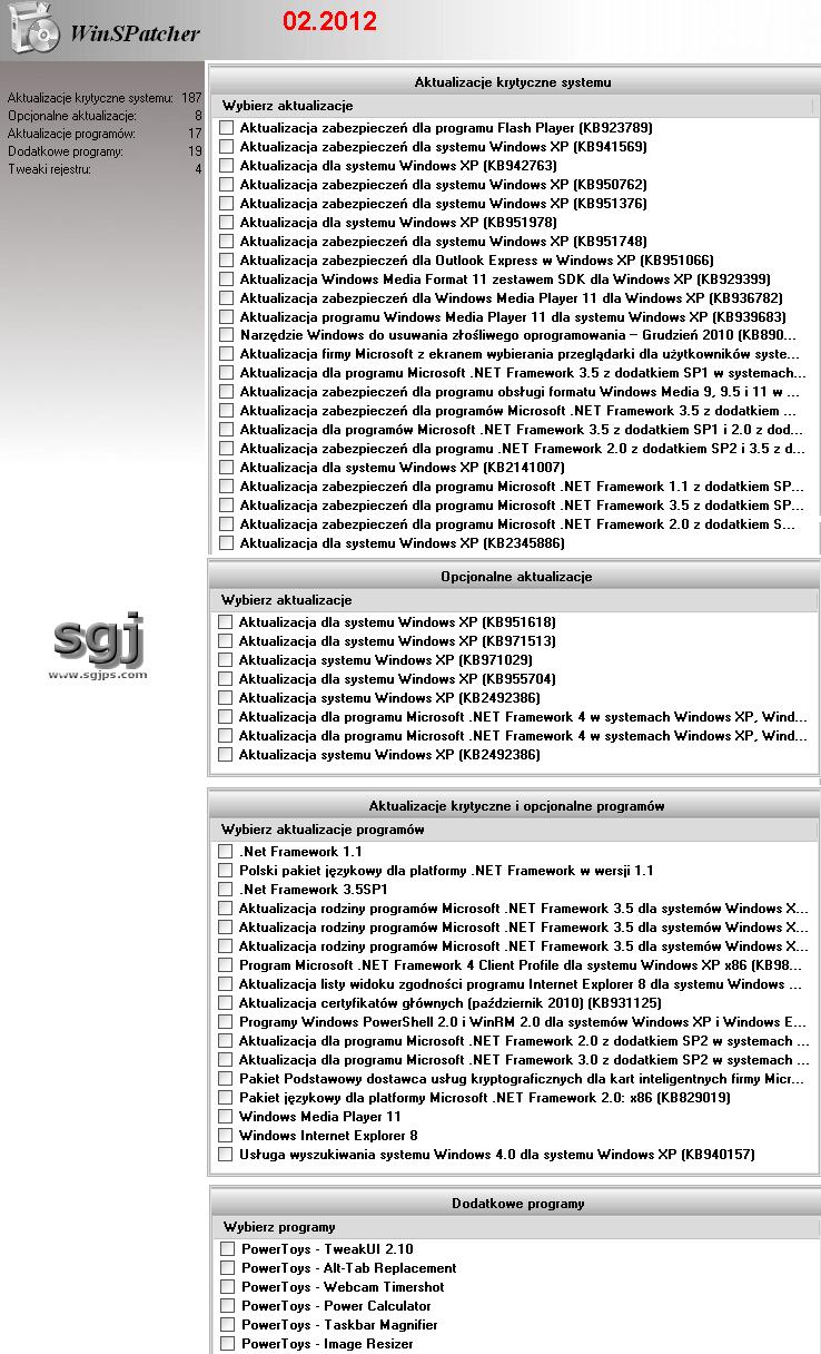 WinSPatcher - aktualizacje