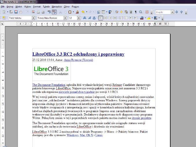 LibreOffice - przykładowy dokument